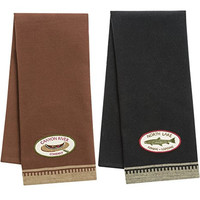 Cabin & Lodge Embroidered Towel Set of 2 - Canyon River Company (Brown) - North Lake Fishing & Lodging (Black) - 1 of each