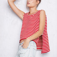 Red Stripe Slit Cropped Muscle Tank Shirt