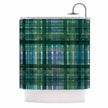 "Ebi Emporium ""PLAID FOR YOU, GREEN BLUE"" Green Blue Stripes Pattern Mixed Media Painting Shower Curtain"