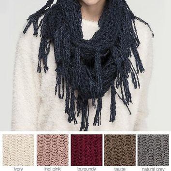 CC Knit Infinity Scarf with Fringe