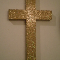 GOLD GLITTER CROSS - Sparkling Antique Gold Glitter Wall Cross