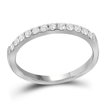 14kt White Gold Women's Round Pave-set Diamond Single Row Wedding Band 1/4 Cttw - FREE Shipping (US/CAN)