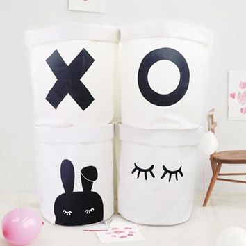 Storage Basket Folding Storage Handbag Baby Kids Toy Clothes Canvas Laundry Basket Storage Bag With Leather Handles Room Decor