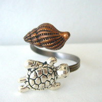 silver turtle ring with a shell. wrap open ring style