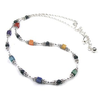 Sterling 7 Chakra Necklace Balance, Align Healing Crystals NEC-CHA06