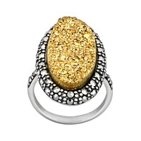 Sterling Silver Golden Drusy & Marcasite Ring (Golden/Stone/Silver)