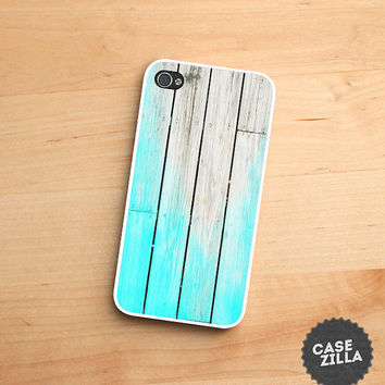 iPhone 5 Case Light Blue Teal Wood Print iPhone 5S Case, iPhone 4/4S Case, iPhone 5C Case