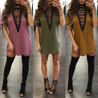 New Fashion 12 colors plus size S-2XL Women high quality sexy deep v-neck lace up short sleeve mini tshirt dresses Vestido Curto