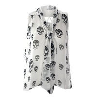 Womens Plus Size Top Chiffon Skull Print Tie Neck Blouse