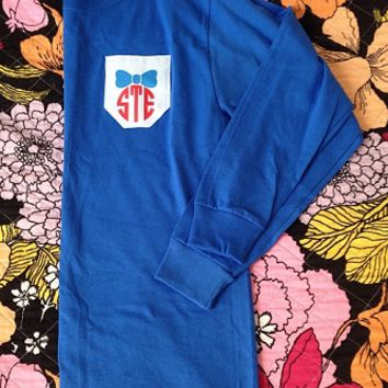 Monogrammed Printed Pocket Crew T-Shirt   Preppy T-Shirts   Marley Lilly