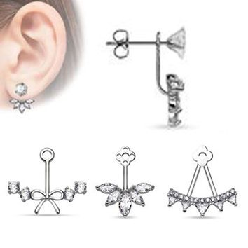 925 Silver Fashion Crystal Zircon Ear Stud Earring Statement Studded Body Jewelry Retainers