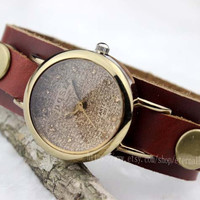 Steampunk watches, rivet watches, genuine leather strap, small dial watches, fashion women's watch