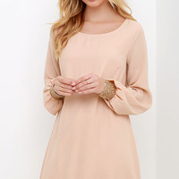 Guiding Light Blush Long Sleeve Shift Dress