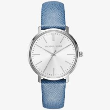Jaryn Silver-Tone Leather-Band Watch | Michael Kors