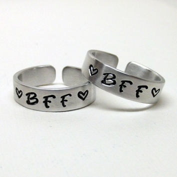 Personalize It- BFF Best Friends Hand Stamped Ring Set of 2 Gift Idea