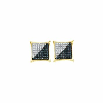 10kt Yellow Gold Mens Round Blue Color Enhanced Diamond Square Kite Cluster Earrings 1-6 Cttw - FREE Shipping (US/CAN)