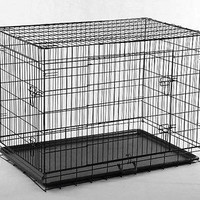 """New Black 48"""" 2 Door Pet Cage Folding Dog Cat Crate Cage Kennel w/ABS Tray"""