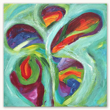 Original abstract painting, butterfly painting, acrylic on canvas, abstract art for on the wall, green painting