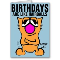 Funny Cat Birthday Cards, Gibby Cat