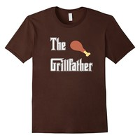 Mens The Grillfather with Chicken Drumstick BBQ T-shirt