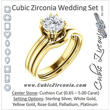CZ Wedding Set, featuring The Marnie engagement ring (Customizable Cushion Cut Solitaire with Grooved Band)
