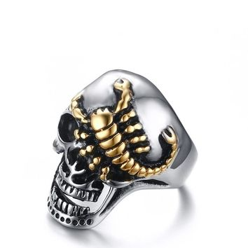 Dragon Claw Ring Scorpion Skull Gothic Silver-Gold