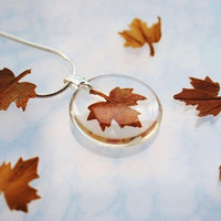 Autumn Necklace Petite Resin Jewelry by NaturalPrettyThings