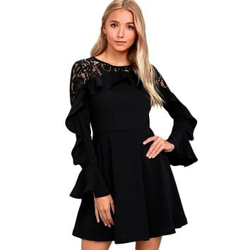 Chicloth Black Lace Long Sleeve Skater Dress