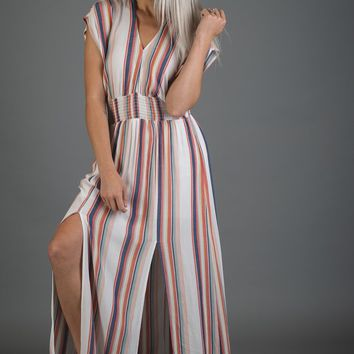 Navy and Coral Vertical Stripe Maxi Dress