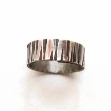 Antiqued Sterling Silver Ring with Hammered Wood Texture - wedding band for him or her