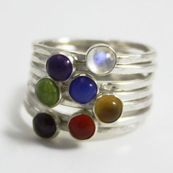 Chakra stacking rings, silver stacking ring, yoga jewelry, chakra jewelry, spiritual jewelry