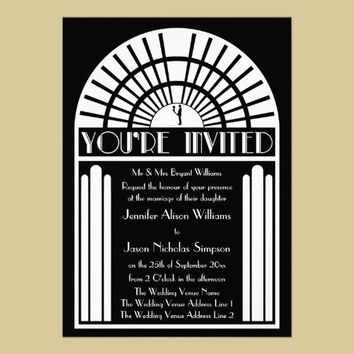 Wedding Invitations - Black & White Art Deco Style from Zazzle.com
