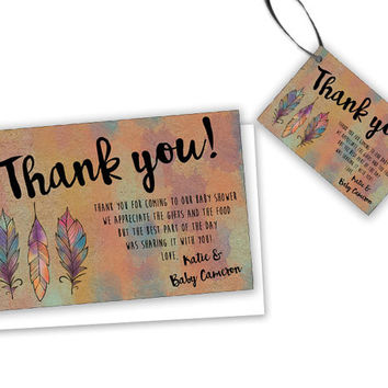 Tribal Thank You Cards - Tribal Baby Shower Tags - Party Favor Tag - Aztec Shower - Feather Watercolor Rustic Baby Shower Favor Tags Custom