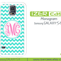 Personalized Monogrammed Samsung Galaxy S5 Case Turquoise Chevron