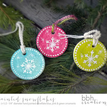 Bright Pink Blue and Green Whimsical Snowflake Christmas Tree Ornaments Handmade with Salt Dough