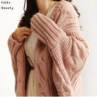 Autumn Winter Knitted Cardigans Coat Women 2015 Fashion Long Sleeve Batwing Poncho Sweater Beautiful Womans Crochet Cardigan