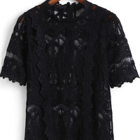Black Crochet Net Lace Half Sleeve Top