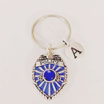 Choose Initial Blue Police Officer Badge Shield Gift Wife Daughter Mom Keychain