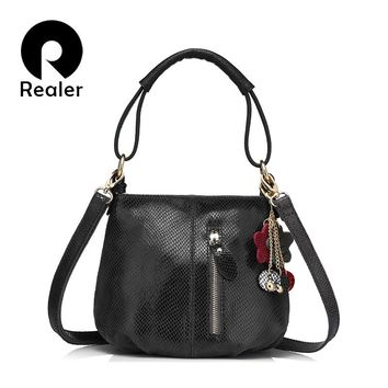REALER brand new arrival women genuine leather handbag ladies melon grain pattern shoulder bag fashion women small hobos bag