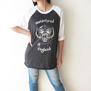 MOTORHEAD T-Shirts English Heavy Metal Hard Rock Baseball T Shirts Raglan Sleeve Shirt Size M