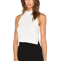 Milla Sweater Crop Top in Ivory