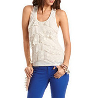 Tiered Mesh Dot Tank Top: Charlotte Russe