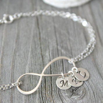 Personalized 925 sterling silver Infinity bracelet with initial charms, monogram letter Stamped disc, one, two, three or four discs 1 2 3 4