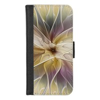 Floral Fantasy Gold Aubergine Abstract Fractal Art iPhone 8/7 Wallet Case