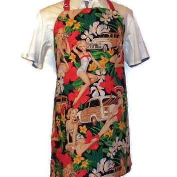 Male Reversible Apron - Aloha / Hawaiian Flower Pinup Girl - Red