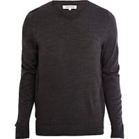 River Island MensDark grey V-neck sweater