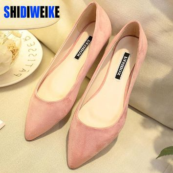 SHIDIWEIKE New Women Suede Flats Fashion High Quality Basic Mixed Colors Pointy Toe Ballerina Ballet Flat Slip On Shoes B587