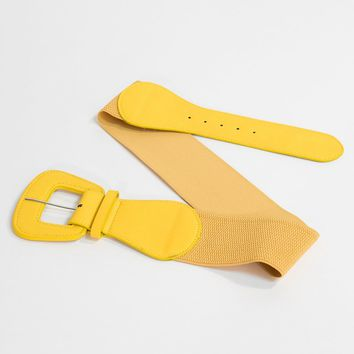 Retro Style Yellow Leatherette Wide Elastic Cinch Belt