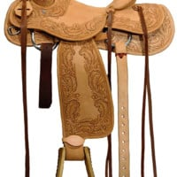 "Ozark Leather Co. Ranch Roping Saddle 15"" Wide Seat FQH Bars"