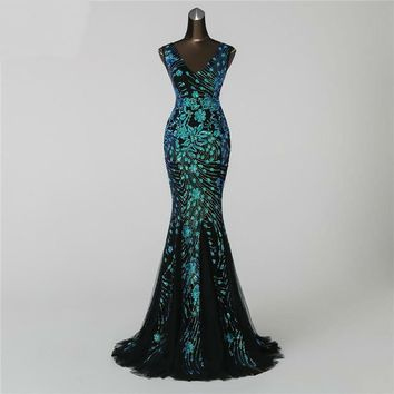 Double-V Mermaid  Evening Dress prom gowns Formal Party dress Elegant Luxury  robe